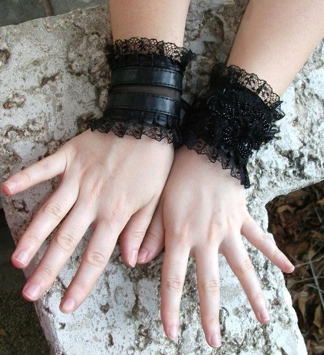 WILD CAT black wrist cuffs steampunk cuffs gothic cuffs twilight gothic gloves victorian gloves goth lolita gloves. $34.90, via Etsy.-over bell sleeves