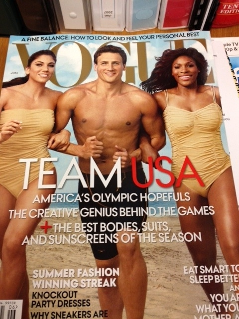 Ryan Lochte, Hope Solo and Serena Williams on the cover of Vogue...Belongs on wedding ideas board because Bun is going to marry him.