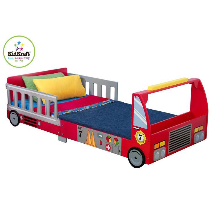 KidKraft Feuerwehr Kinderbett • Bettschutzgitter in Form von Feuerwehrleitern auf beiden Seiten  • Ausgeklügelte, solide Konstruktion  • passend für Matratzen von ca. 140 x 70 x 10 cm