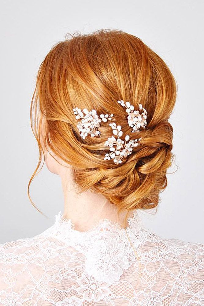 Swept Back Wedding Hairstyles Low Updo On Red Hair With White Accessorises Nicole Drege Via Instagram Hair Styles Summer Wedding Hairstyles Bridal Hair