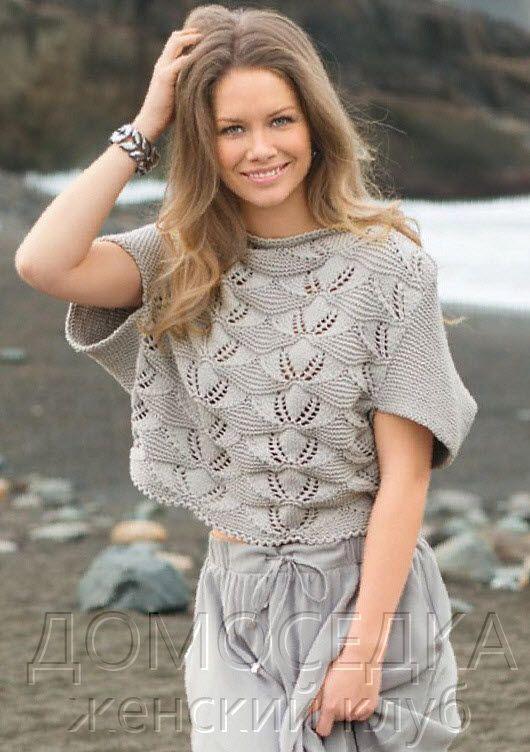 Пуловер спицами - модель для лета. Вяжется интересным узором.