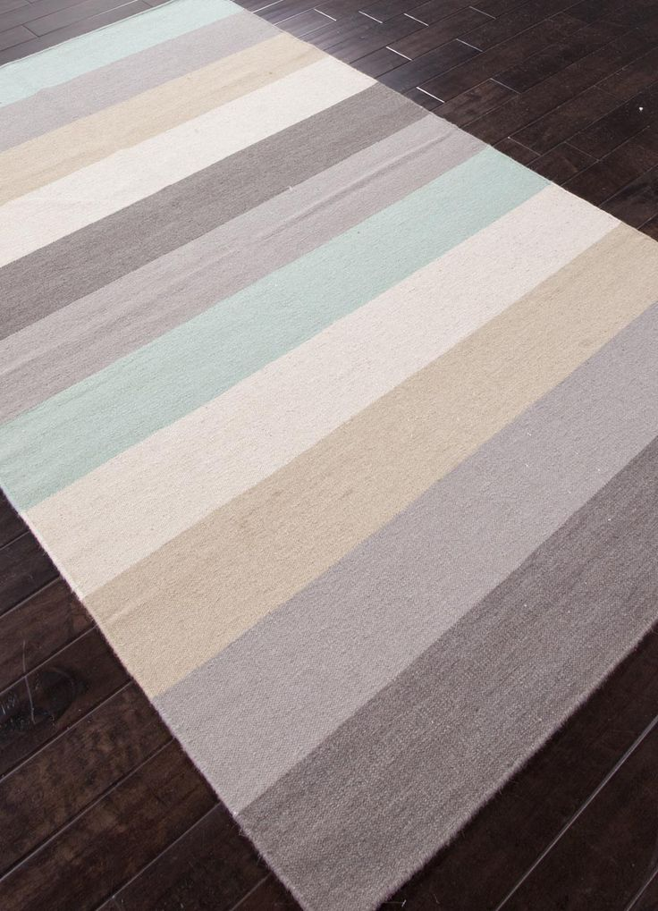 Wide Beach Sand and Aqua Striped Rug