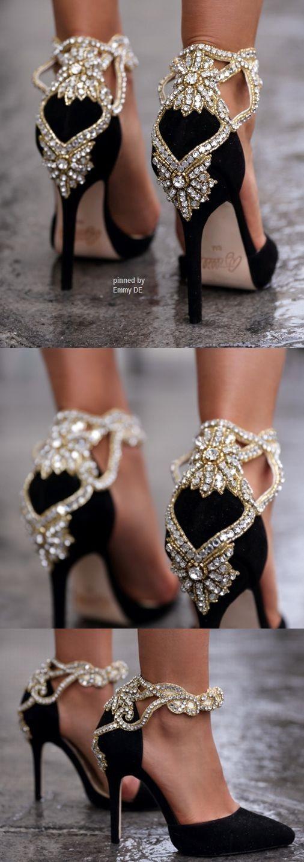 Emmy DE * Aminah Abdul Jillil crystal pumps // to die for // crystal heels // shoes // heels // black and gold heels //