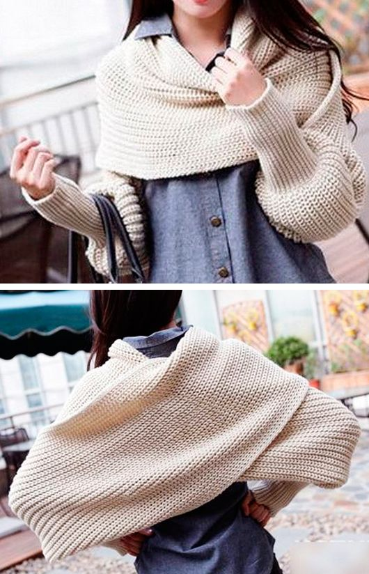 Knit shrug with sleeves. Link goes nowhere, but the image gives me a good idea…