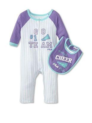 60% OFF Fila Baby Playwear with Bib (Bright White/Purple)