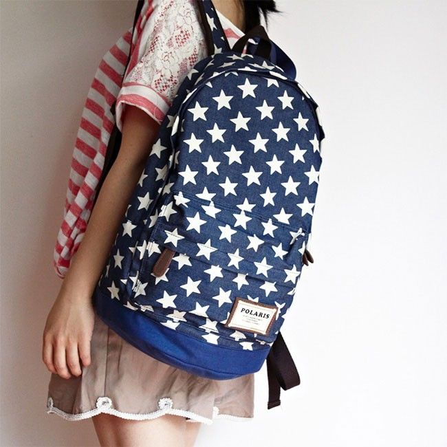 Cute Star Print Denim Backpacks for only $29.90 ,cheap Fashion Backpacks - Fashion Bags online shopping,The Cute Star Print Denim Backpacks can be used for school bag .It is very leisure.