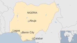 Map of Nigeria showing location of Benin City