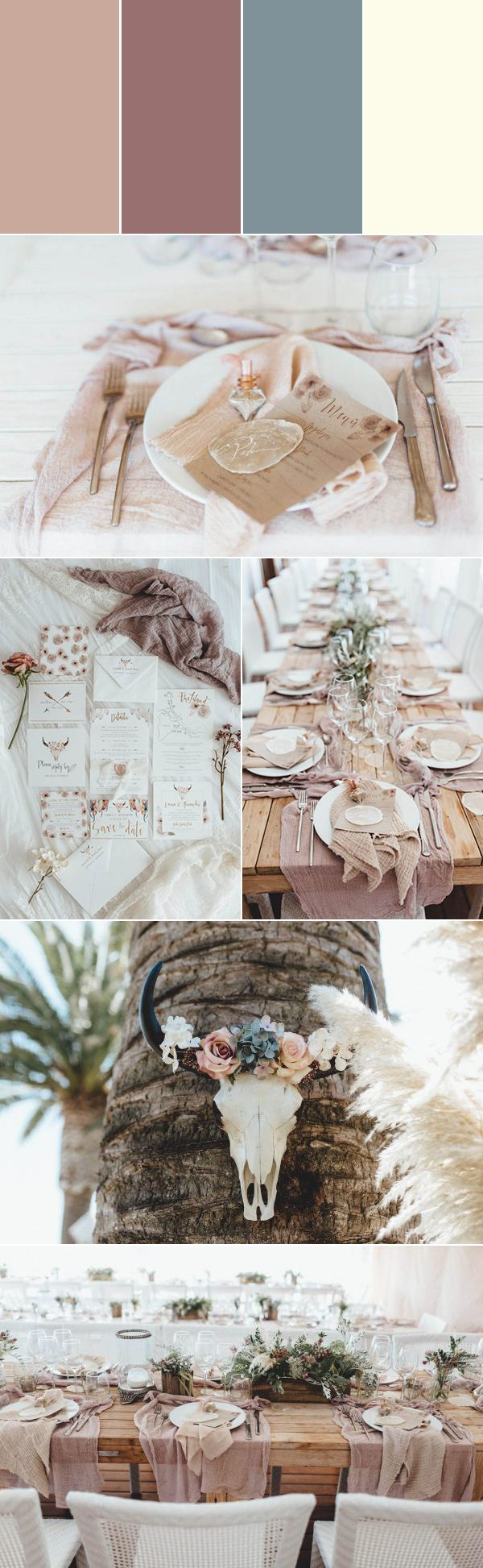 Taupe, mauve, sage, shell color palette for an ethereal wedding | photos by Kreativ Wedding