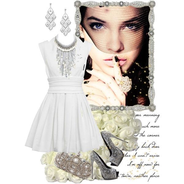 """""""White Rose"""" by tahha-fesik on Polyvore.  Jewellery by Karen fresh water pearl and aluminum chain bib necklace."""