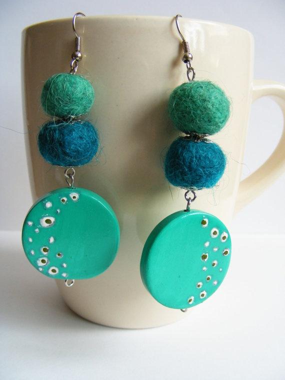 Blue Mint Earrings  Felted Earrings  Hand painted by FlosCaeli, $15.00