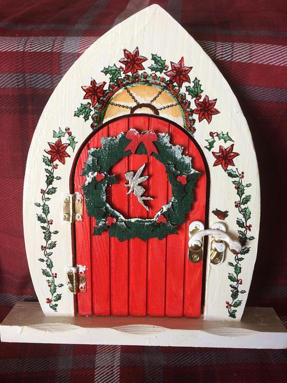 Christmas Fairy Door, mixed media made by fine artist 21cm Height.