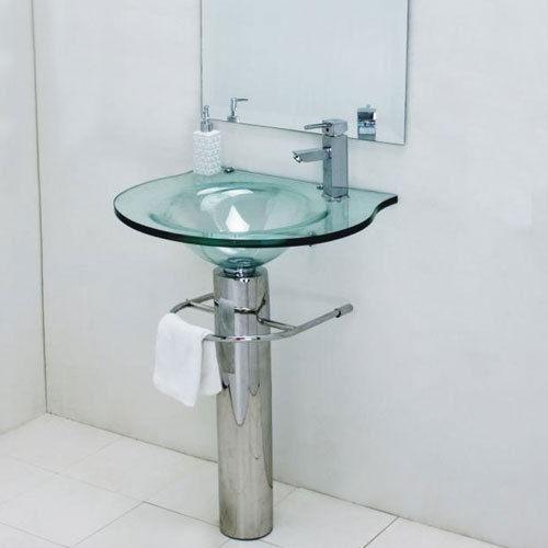Glass pedestal sink ebay sinks pinterest ebay for Glass wash basin designs dining room