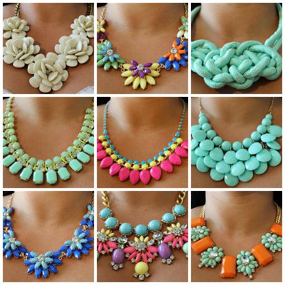 Where to buy cute statement necklaces in every color for under $10