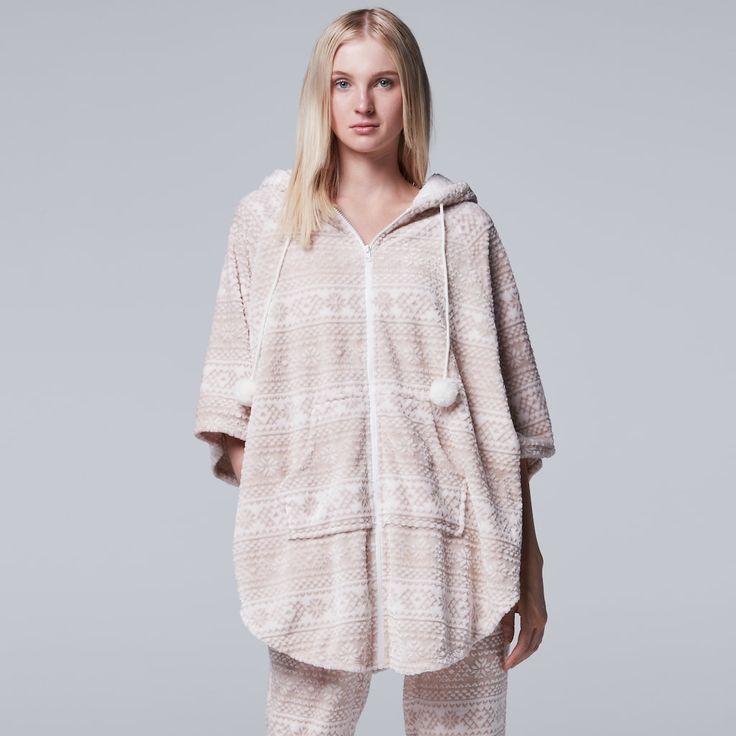 Women's Simply Vera Vera Wang Pajamas: Plush Party Fleece Hooded Poncho, Size: Medium, Natural