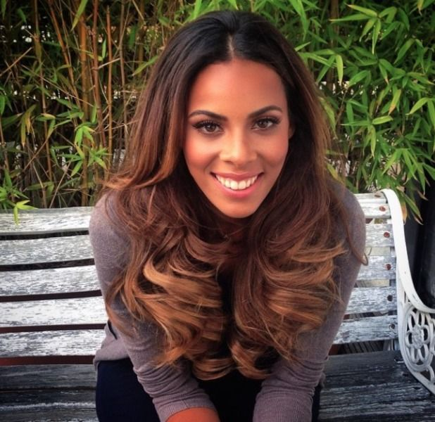 Rochelle Humes works new, lighter hair extensions into a high ponytail
