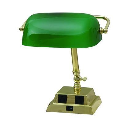 HAMPTON BAY - Lampe de banquier de 13,8 po (35,05 cm) en laiton avec deux prises - 18255-000 - Home Depot Canada