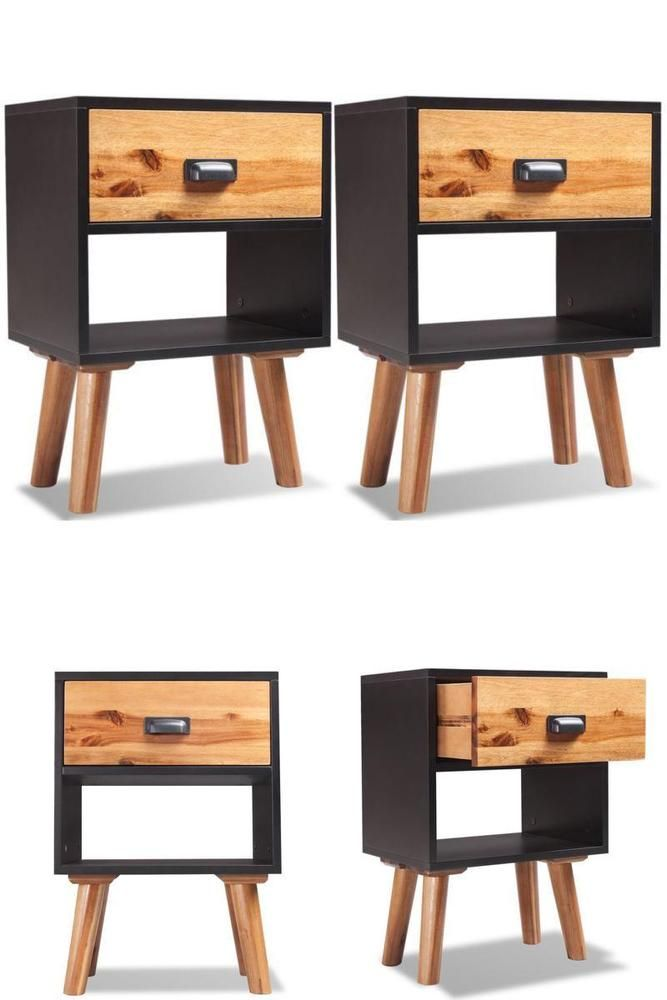 Black Retro Bedside Table Set Wooden Night Side Sofa Stand 2 Drawer Storage Unit