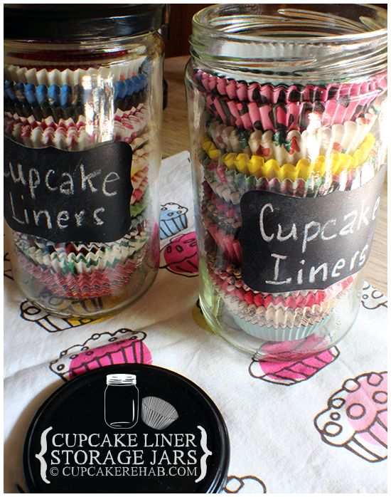 Let the cute prints on your favorite mini cake liners shine through the glass of these jars — and never forget what patterns you already own (before you accidentally stock up on more holiday designs again). See more at Cupcake Rehab »   - HouseBeautiful.com