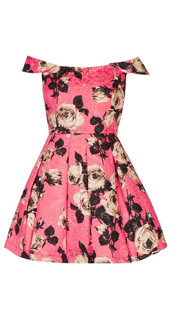 Rose off shoulder dress