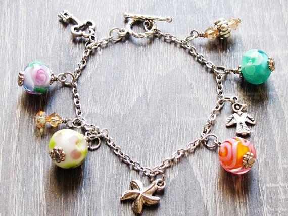 Pastel Colorful Lampwork Bracelet Glass Bead by GlassHouseLampwork