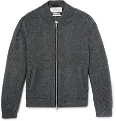 bermondsey wool blend bomber jacket - grey by oliver spencer via mr.porter