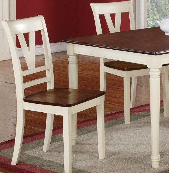 Poundex F1351 Off White Dining Chair Set Of 2 Dining Chairs