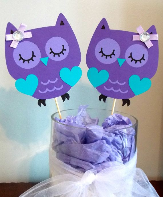 Purple Owl Centerpieces/ Baby Shower/ Heart/ Birthday Centerpieces/ Owl  Birthday/ Purple And Teal/ Purple Owl Baby/Age/ #1 Centerpiece