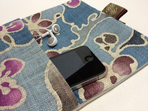 ipad or Tablet Slipcover/Sleeve with pocket. Japanese Hemp Floral Print by QuiltyCo, $30.00