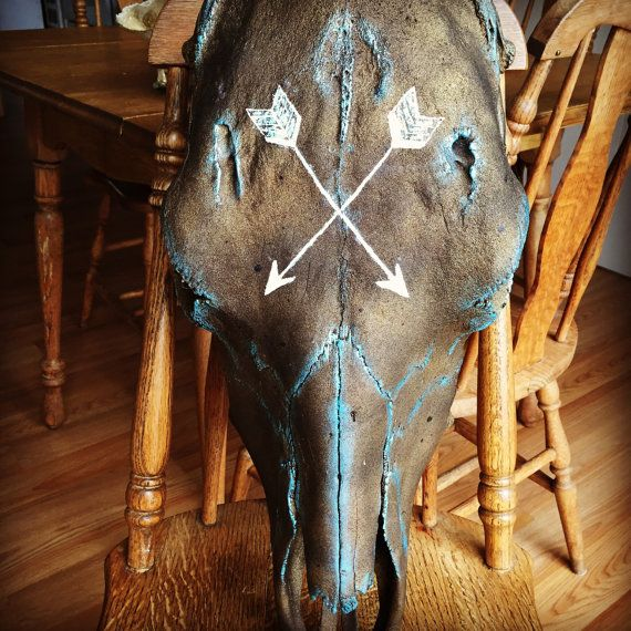 Hand painted cow skull by northcountrybound on Etsy
