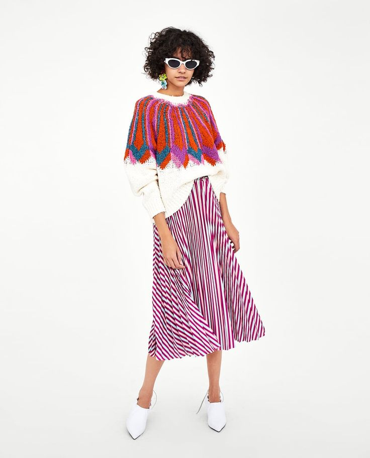 Image 1 of STRIPED PLEATED MIDI SKIRT from Zara
