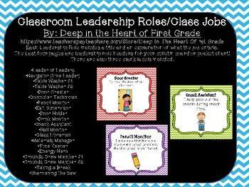 Classroom Leadership Roles- Leader in Me, Classroom Jobs
