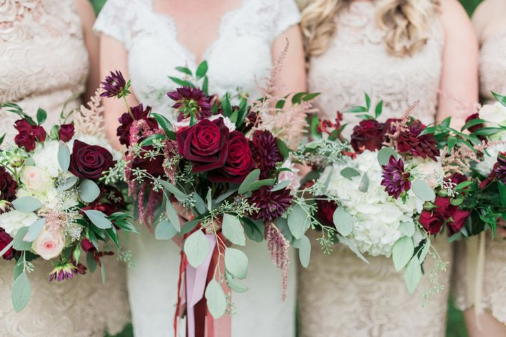 Pretty burgundy bouquets: http://www.stylemepretty.com/new-york-weddings/syracuse/skaneateles-syracuse/2015/09/14/rustic-glam-finger-lakes-wedding/ | Photography: Elizabeth LaDuca - http://elizabethladuca.com/