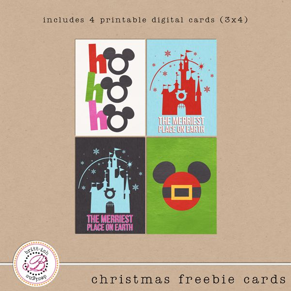 Disney Christmas Project Life Scrapbooking Journal FREEBIE cards by Britt-ish Designs