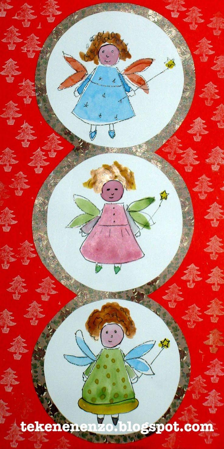 Benodigdheden: wit tekenpapier waterverf penselen glitterpen kerstpapier voor achtergrond Trek een schoteltje om op wit papier...