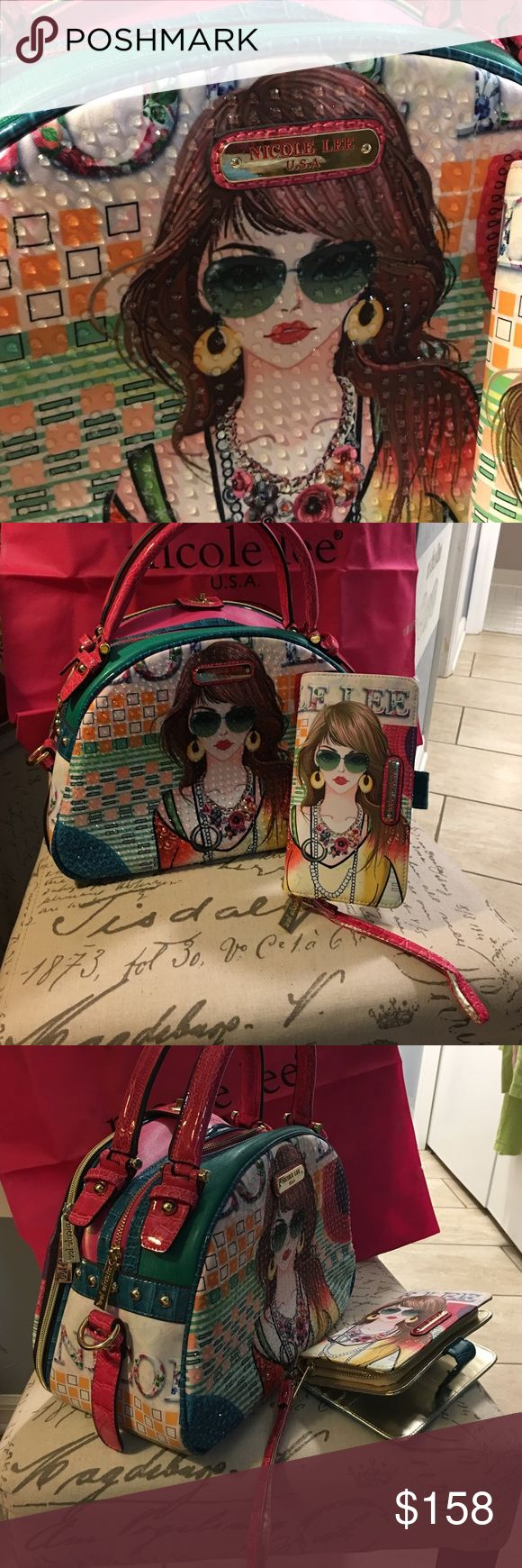 Nicole Lee bag 3pc set brand New Never Used. Nicole Lee purse and wallet with dust bag authentic never been used brand-new no tags multicolors I only have one mainly hot pink turquoise. The front  front in detail Nicole Lee Bags Clutches & Wristlets
