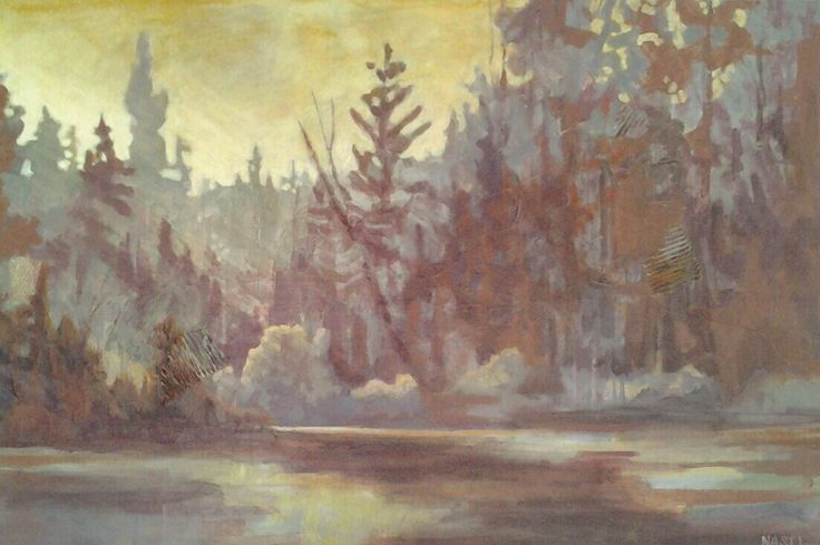 Portrait of a hazy northern Morning, fresh off my easel today.  View the original at the Art Gallery of Bancroft in July 2016.