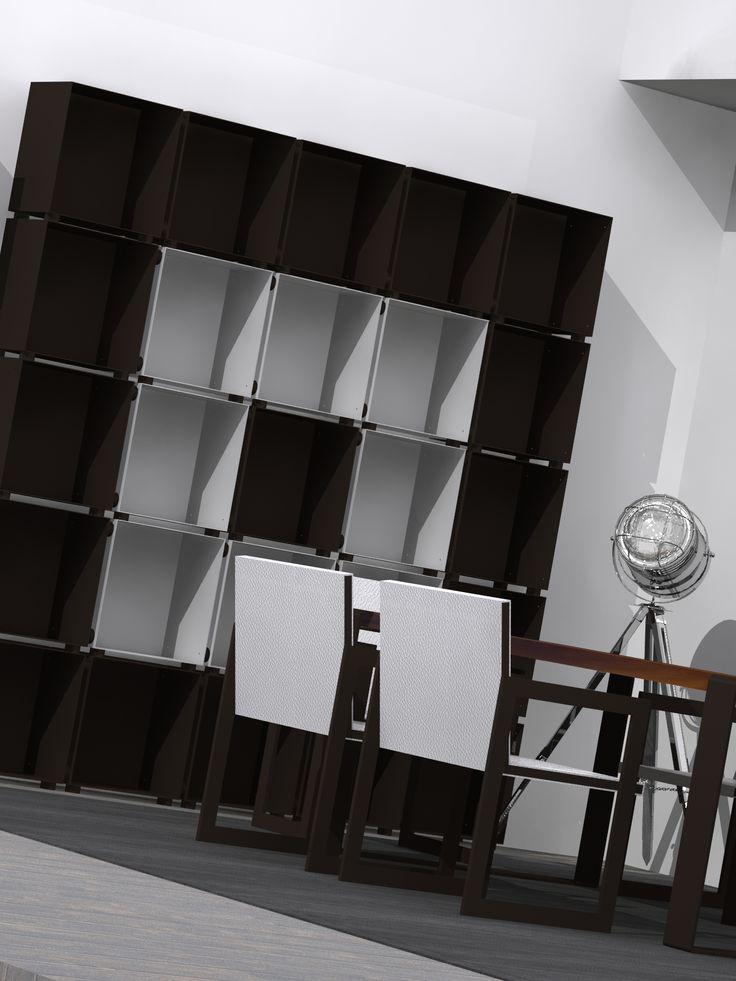 Libreria in metallo. render 3d