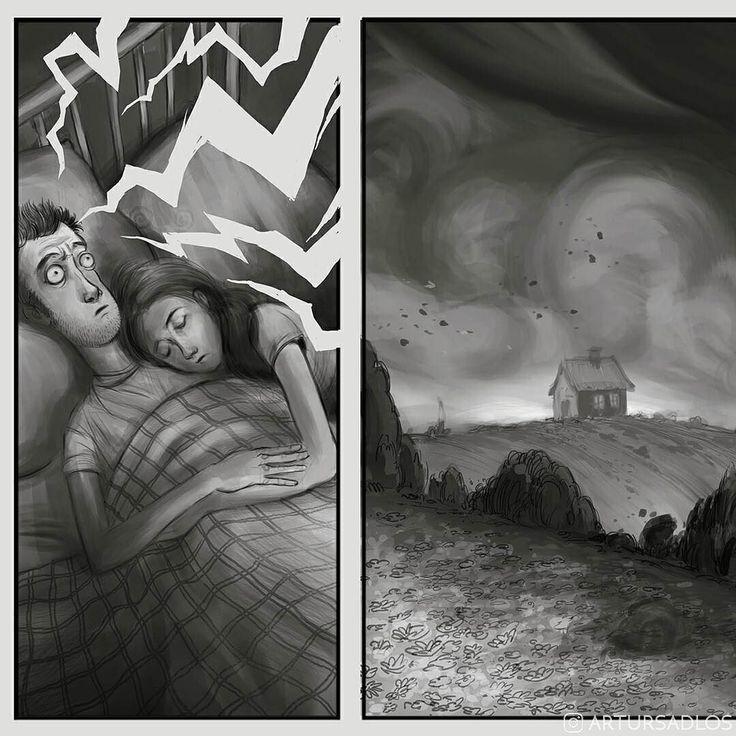#ThrowbackThursday time! . . . . . #couple #bed #dream #nightmare #artursadlos #artoftheday #instaart #landscape #comicbooks #cartoon