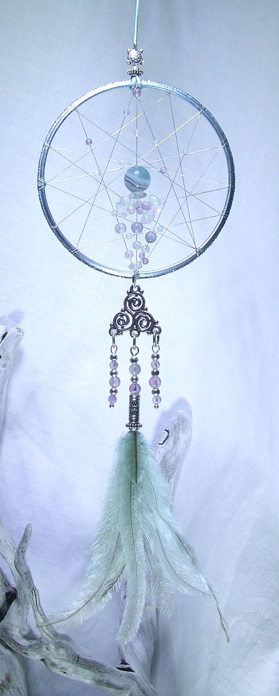 Rainbow Fluorite Dream Catcher Wall Hanging Small by TigerEmporium