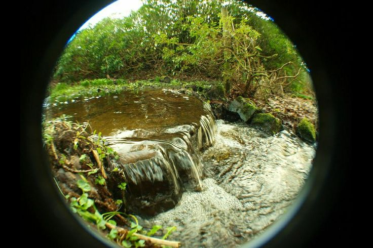 Fisheye picture of a small waterfall