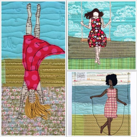 "Create an art quilt featuring a fused raw-edge appliquéd Girl at Play using this believemagic Creative Girl Pattern. Use your fabrics and creativity to make art quilts similar to the 5th photo. Customize the hair and dress to create a wall-hanging perfect for any playful girl.  The pattern includes: - 3 girls at play each in 3 sizes: 10"", 16 and 20"" ready to be printed on standard printer paper - Instructions to stitch a Creative Girl art quilt - Ideas for adding a sentiment to your art…"