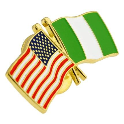 "USA and Nigeria Flag Pin. 1-1/8"" W x 1/2"" H. Gold plated with soft enamel colors. $3.95"