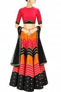 Red, black and orange gota and sequins embroidered lehenga set