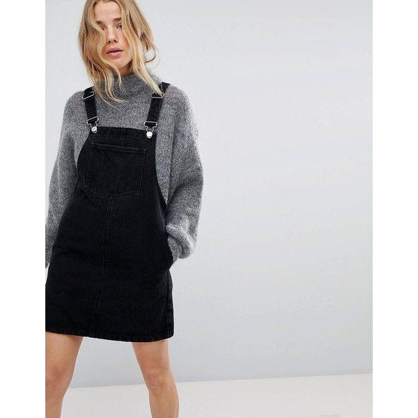 Miss Selfridge Denim Dungaree Dress ($55) ❤ liked on Polyvore featuring dresses, black, denim dungaree, pinafore dress, dungaree dress, miss selfridge dresses and pocket dresses