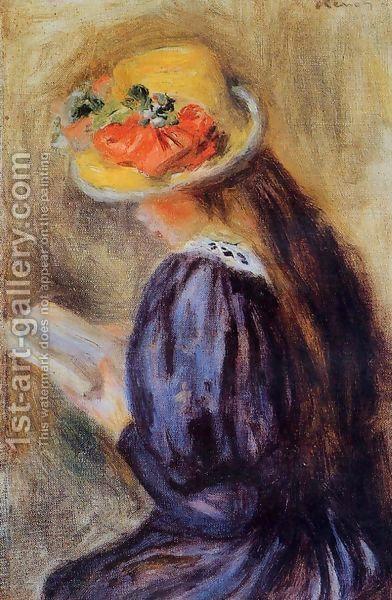 The Little Reader Aka Little Girl In Blue by Pierre Auguste Renoir