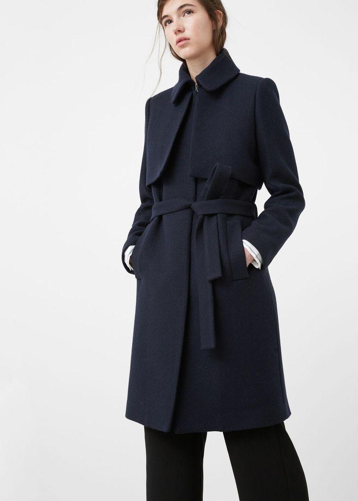 Belt wool coat - Coats for Women | MANGO USA