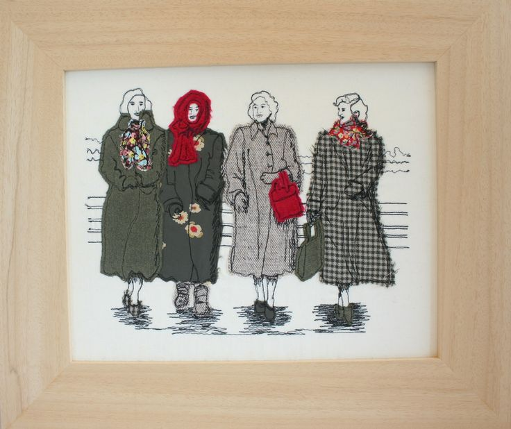 Free machine applique - some ladies from the 40's walking in Margate
