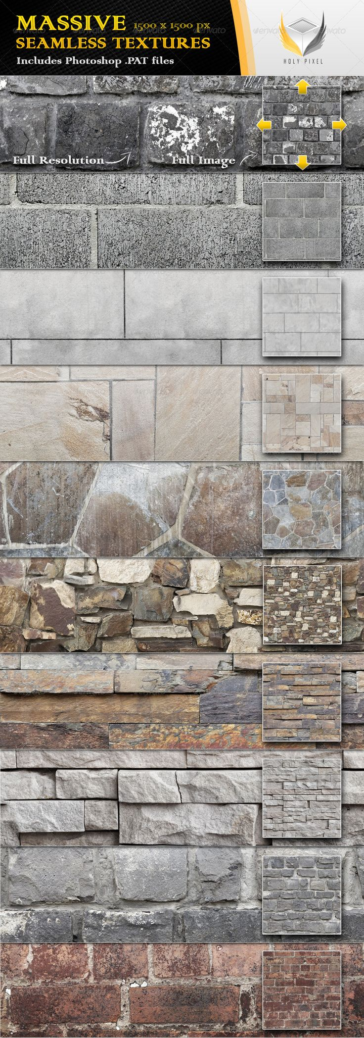 10 Seamless Stone Wall Textures - Urban Textures / Fills / Patterns