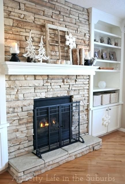Image Result For How To Trim Bookcase Around Stone Fireplace