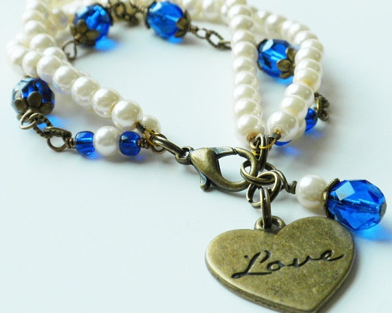 Bracelet Ivory Pearl Cobalt Blue Czech Glass by ReneeBrownsDesigns, $21.00